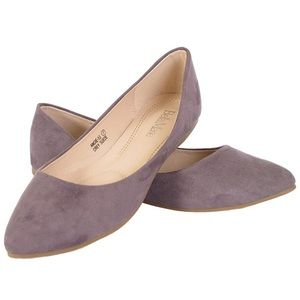 Angie Classic Pointy Toe Ballet Flat Gray Suede 10